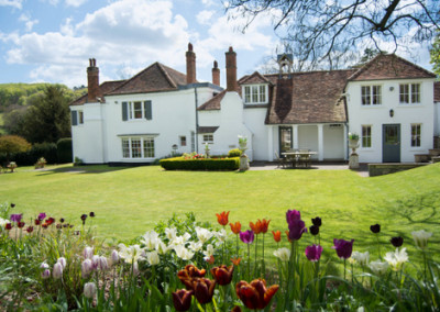 Country house with tulips