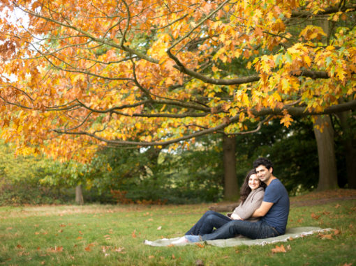 Autumnal colours couple photo shoot in London