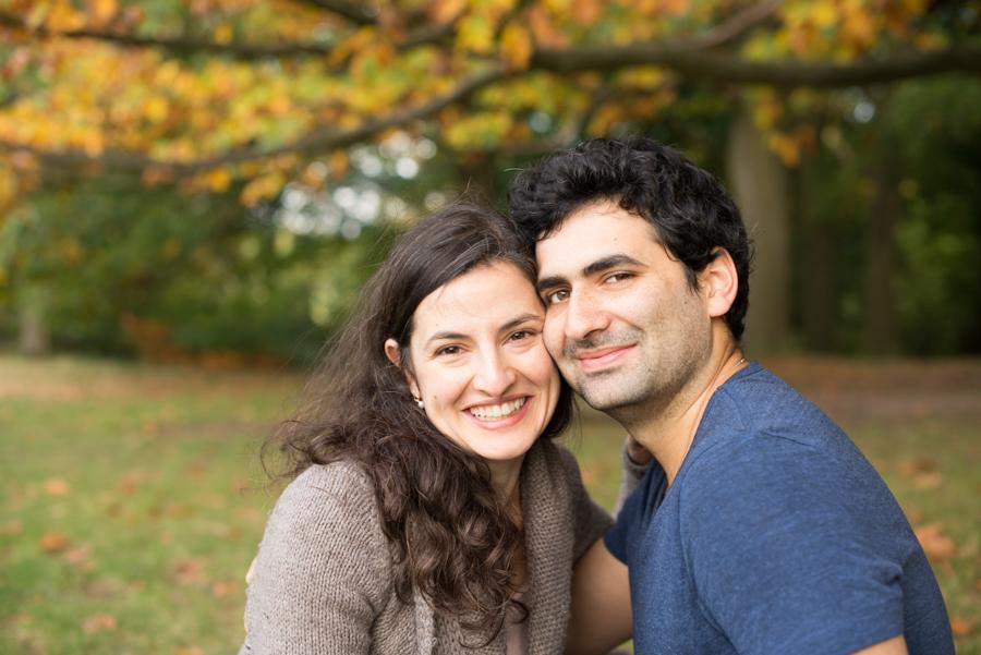 Autumnal couple photoshoot in London park